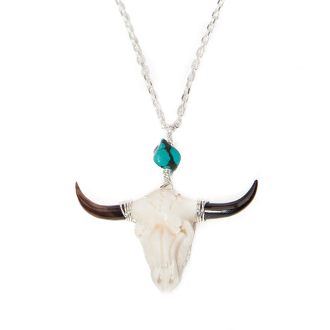 buffalo bone skull necklace