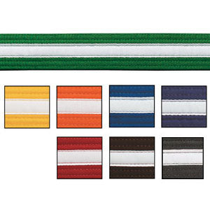 Coloured Martial Arts Belts with White Stripe