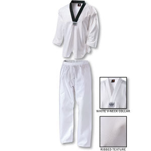 TKD v-neck ribbed Martial Arts uniform