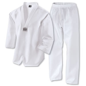TKD / white V-neck non-ribbed Martial Arts uniform