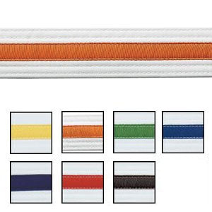 WHITE BELT WITH COLOURED STRIPE