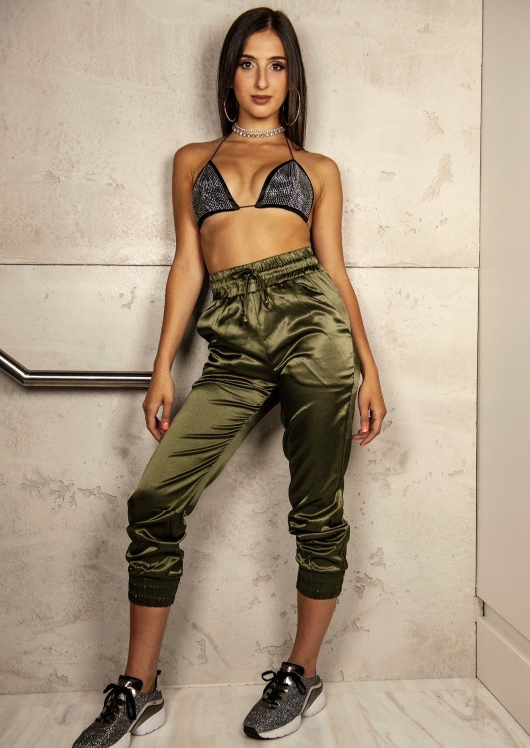 Mary-Jane satin joggers - ROSAII