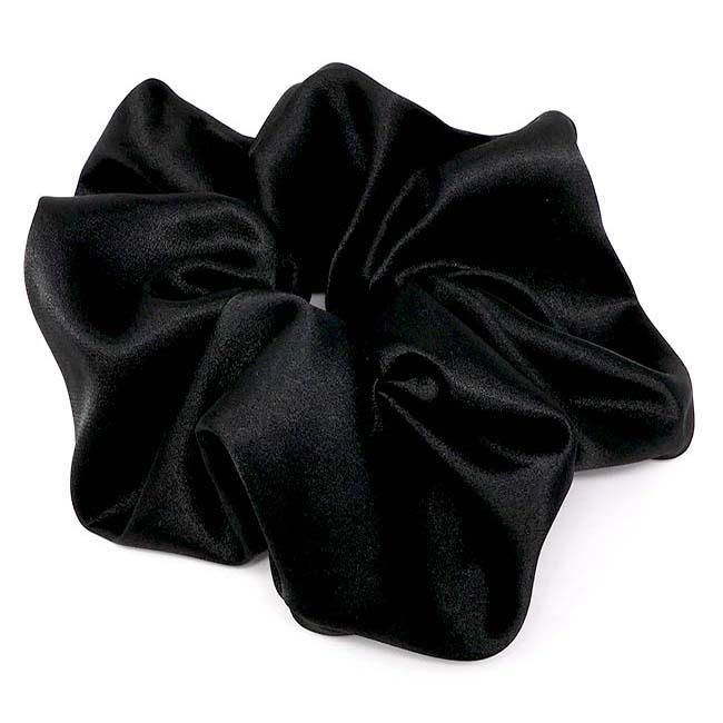 3 pieces- Black Satin Scrunchie