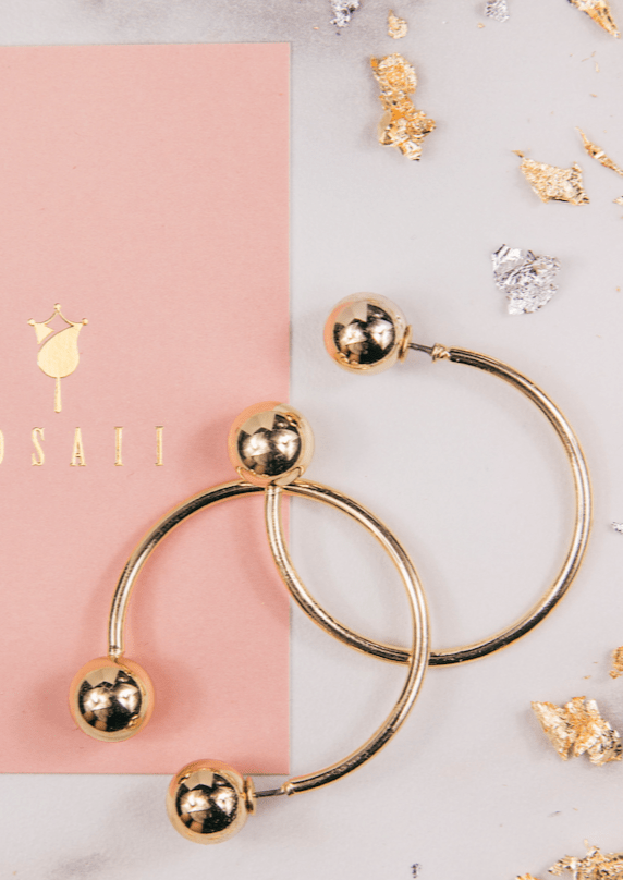 Gold Circle Earrings - ROSAII