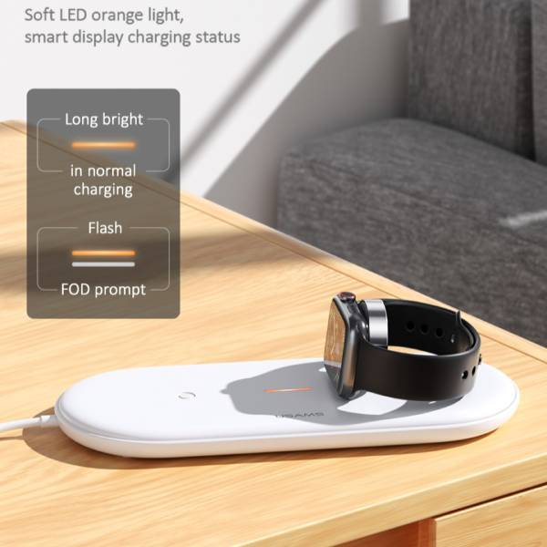 USAMS ® 2 in 1 Wireless Fast Charging Pad