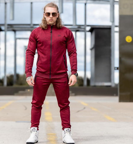 stylish and minimalist in its design, the new burgundy red tracksuit from Gorilla Wear