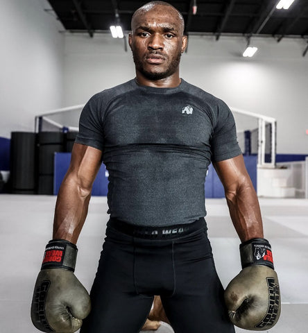 Kumara Usman wears the Lewis T-Shirt & Smart Tights regularly during his sparring sessions and gym workouts