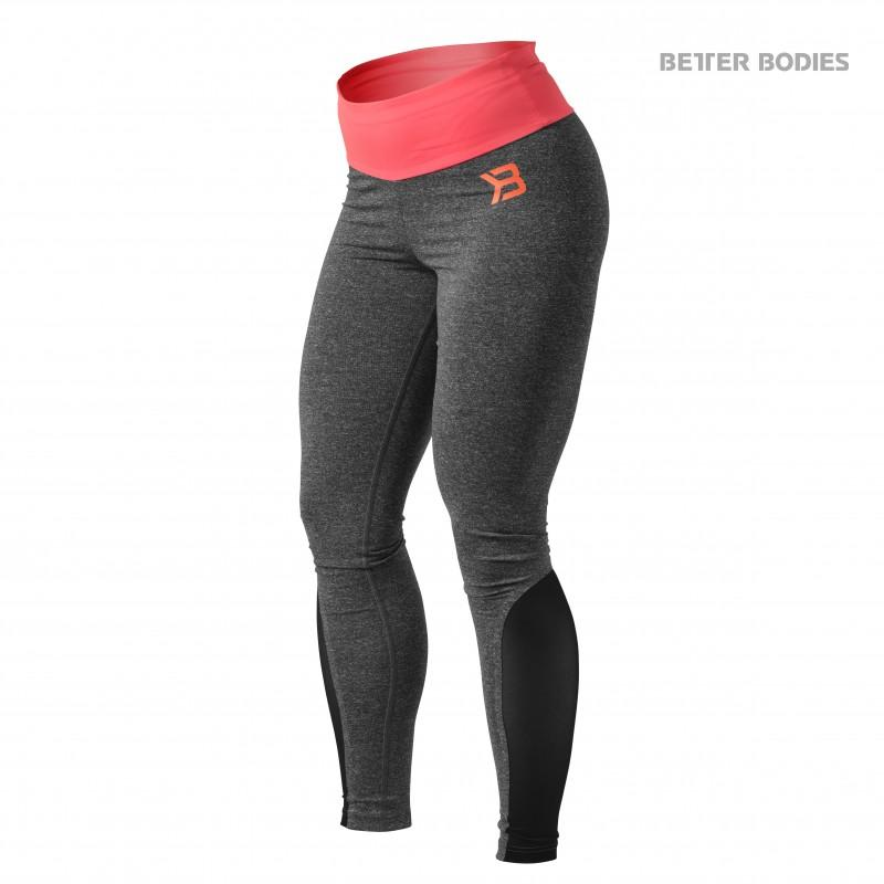 Better Bodies BB Shaped Tights - Anthracite Melange-Coral - Urban Gym Wear