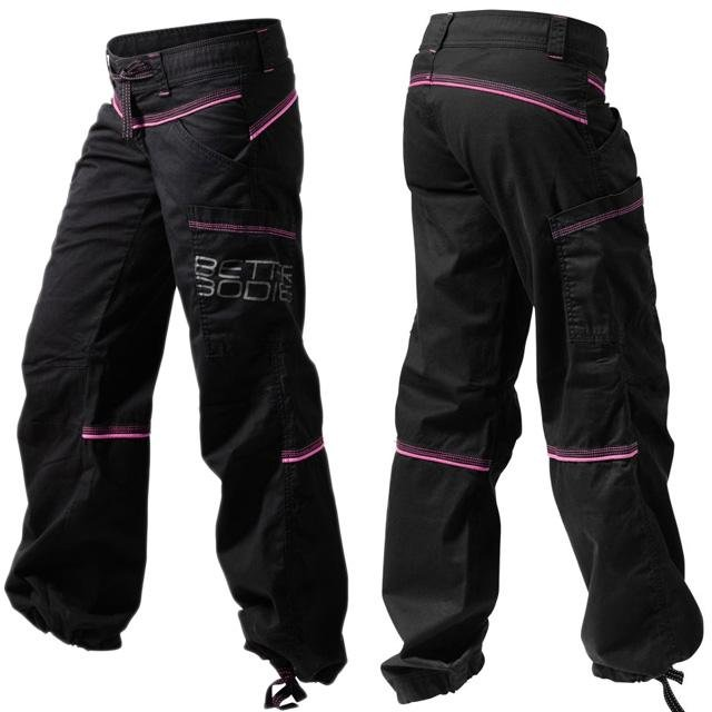 Better Bodies Contrast Windpant - Black-Pink - Urban Gym Wear