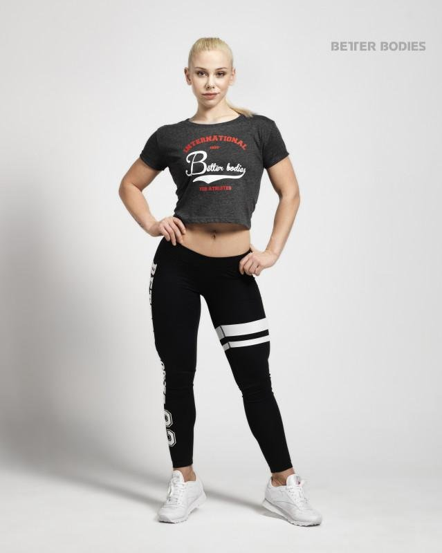 Better Bodies Cropped Tee - Anthracite Melange - Urban Gym Wear