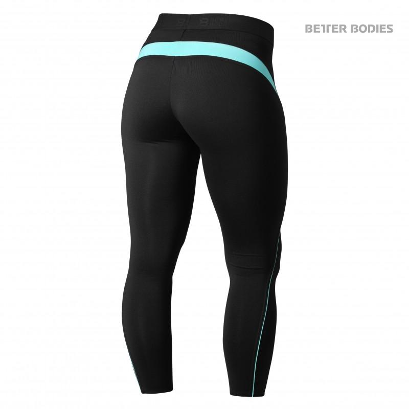 Better Bodies Fitness Curve Tights - Black-Aqua - Urban Gym Wear