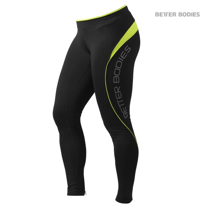 Better Bodies Fitness Long Tights - Black-Lime - Urban Gym Wear
