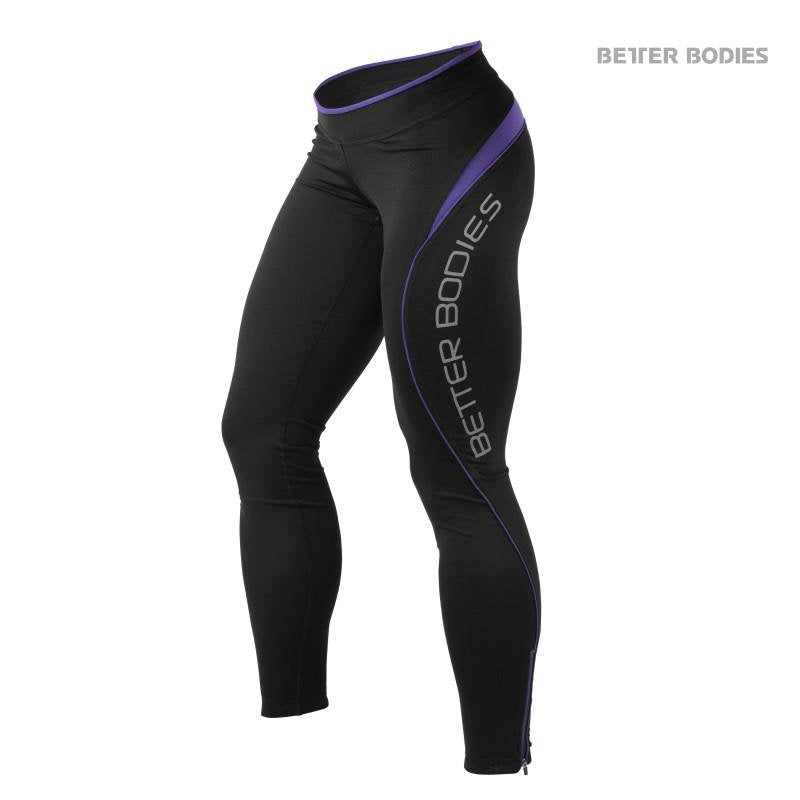 Better Bodies Fitness Long Tights - Black-Purple - Urban Gym Wear