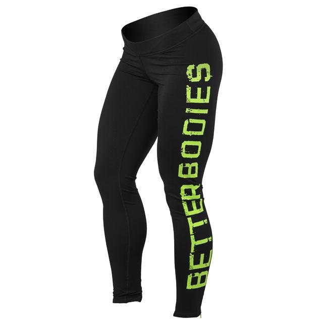 Better Bodies Logo Tights - Black-Lime - Urban Gym Wear