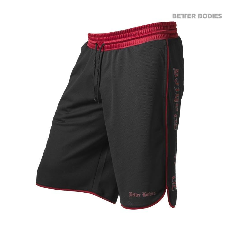 Better Bodies Mesh Gym Shorts - Black-Red - Urban Gym Wear