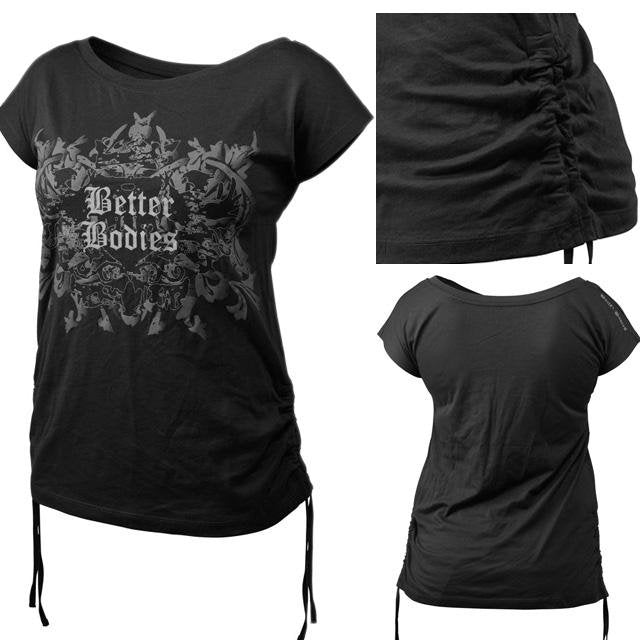 Better Bodies Printed S-S Tee - Black - Urban Gym Wear