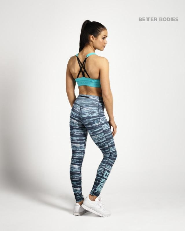 Better Bodies Printed Tights - Black-Aqua - Urban Gym Wear