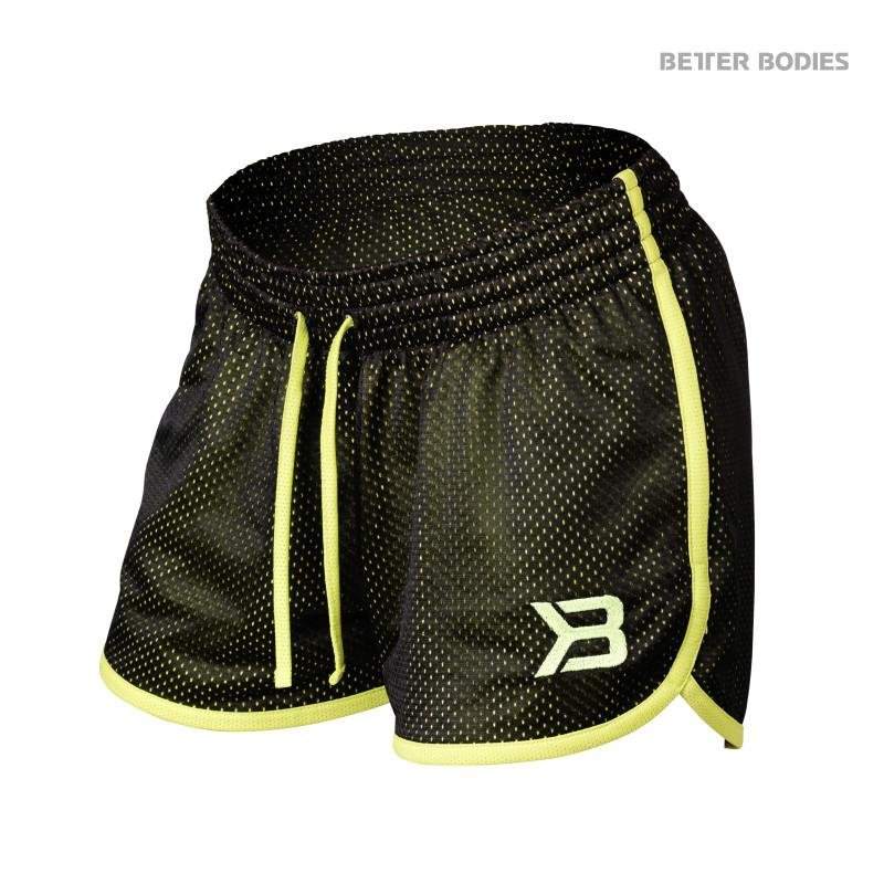 Better Bodies Race Mesh Shorts - Black-Lime - Urban Gym Wear