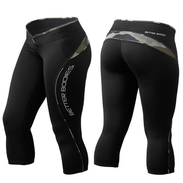 Better Bodies Shaped 3-4 Tights - Black-Camoprint - Urban Gym Wear