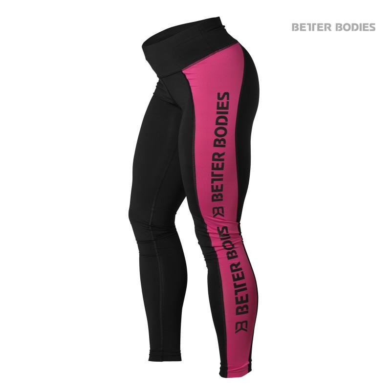 Better Bodies Side Panel Tights - Black-Pink - Urban Gym Wear