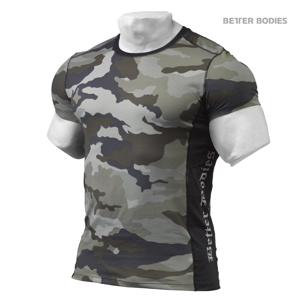 Better Bodies Tight Fit Tee - Green Camo Print - Urban Gym Wear