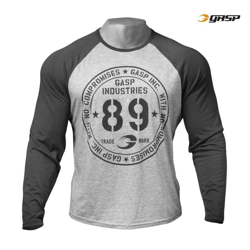 GASP Raglan Long Sleeve Tee - Grey Melange - Urban Gym Wear