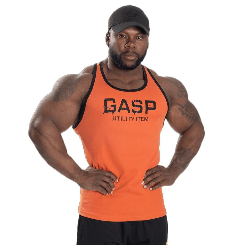 GASP Ribbed T-Back - Flame - Urban Gym Wear