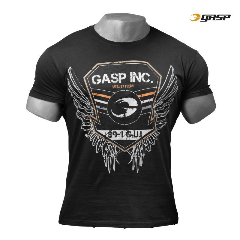 GASP Rough Print Tee - Wash Black - Urban Gym Wear