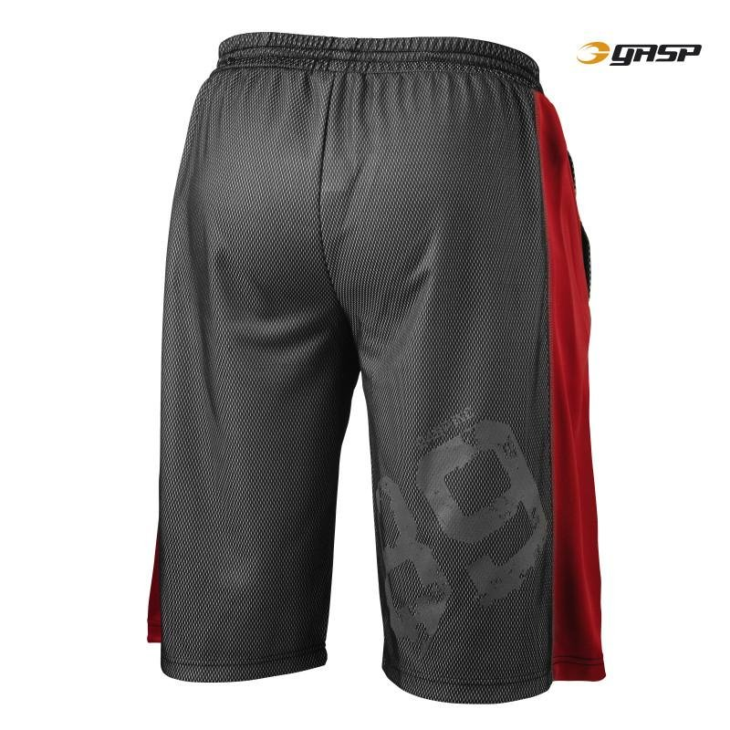 GASP Ultimate Mesh Shorts - Black-Red - Urban Gym Wear