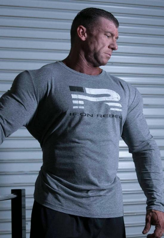 Iron Rebel Iron Patriot Long Sleeve - Grey - Urban Gym Wear