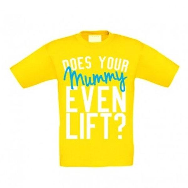 Samson Athletics Does Your Mummy Even Lift Yellow Kids Tee - Urban Gym Wear