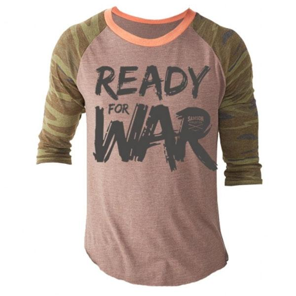 Samson Athletics Ready For War Mens 3-4 Length Baseball Tee - Urban Gym Wear
