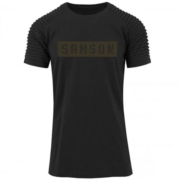 Samson Athletics Stencil Pleated Tee - Black - Urban Gym Wear