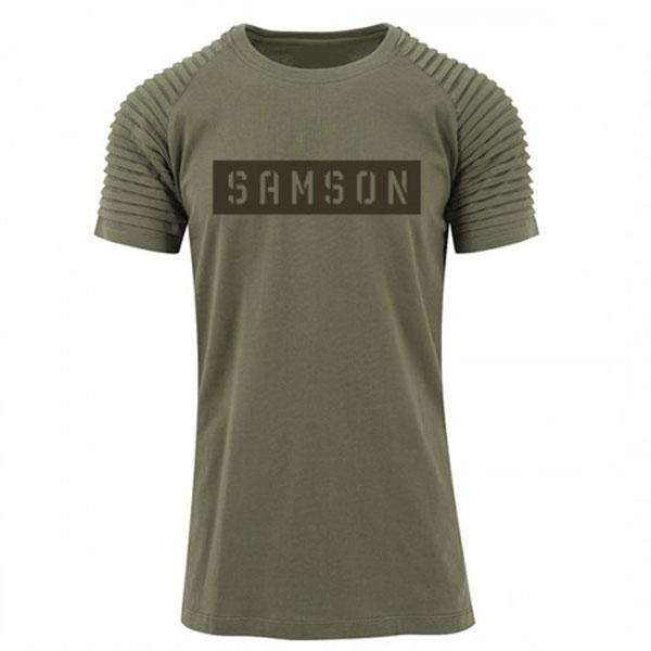 Samson Athletics Stencil Pleated Tee - Olive - Urban Gym Wear