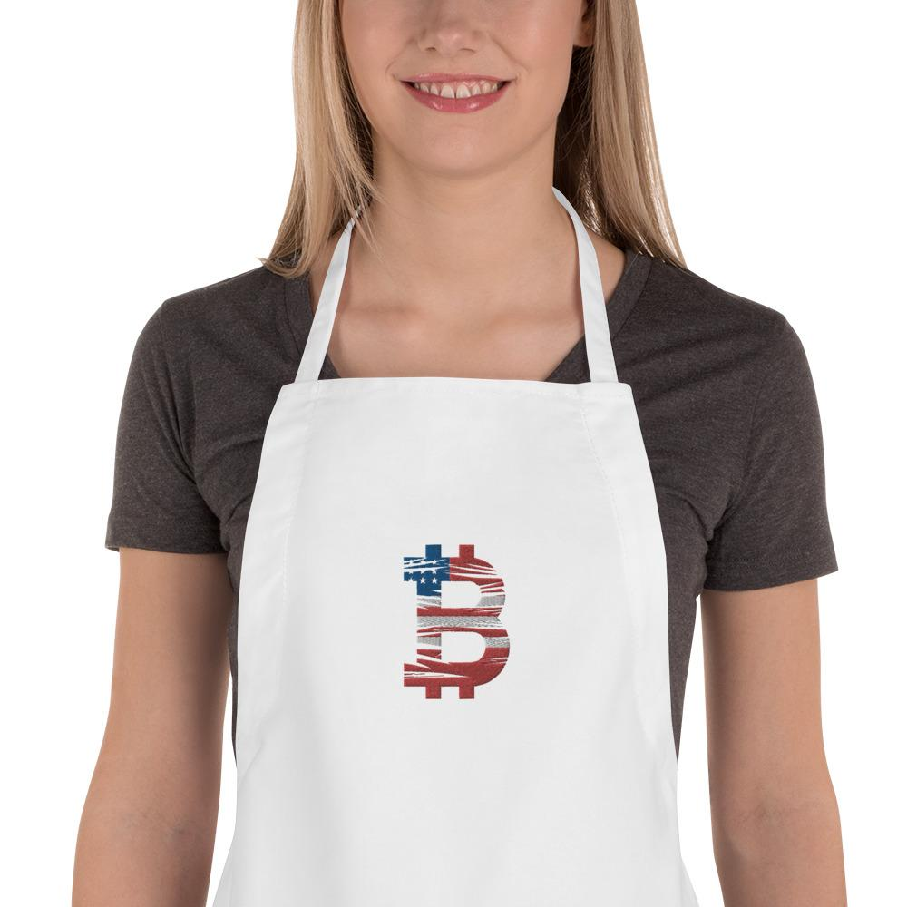 Bitcoin American Flag Embroidered Apron - Your perfect shirt