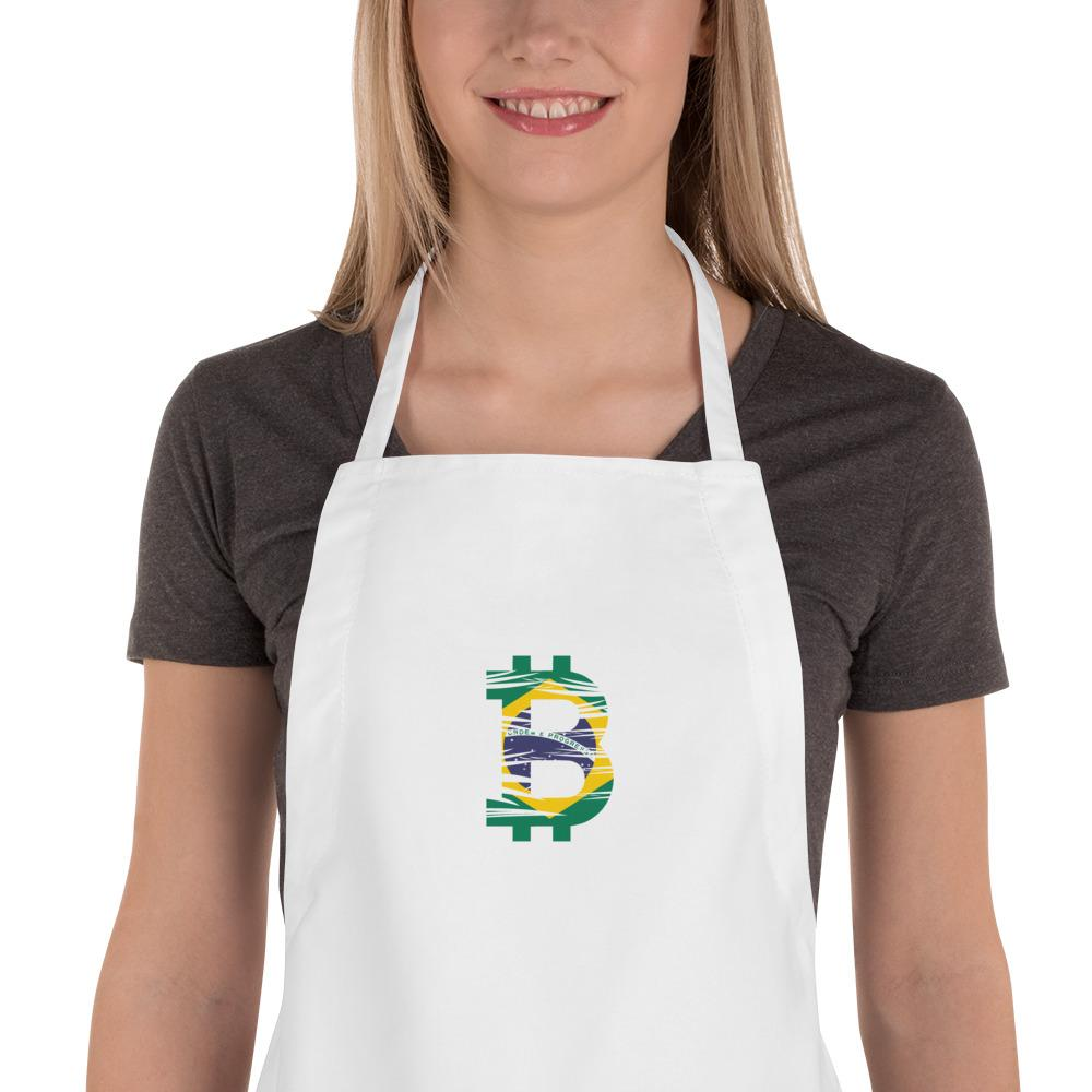 Bitcoin Brazilian Flag Embroidered Apron - Your perfect shirt
