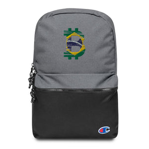 Bitcoin Brazilian Flag Embroidered Champion Backpack - Your perfect shirt