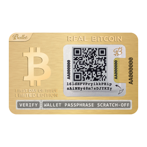 3X REAL BTC Wallet 24K Gold Plated - First Day Of Issue Limited Edition (25% DISCOUNT)