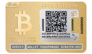 Real BTC Wallet 24K Gold Plated - First Day Of Issue Limited Edition