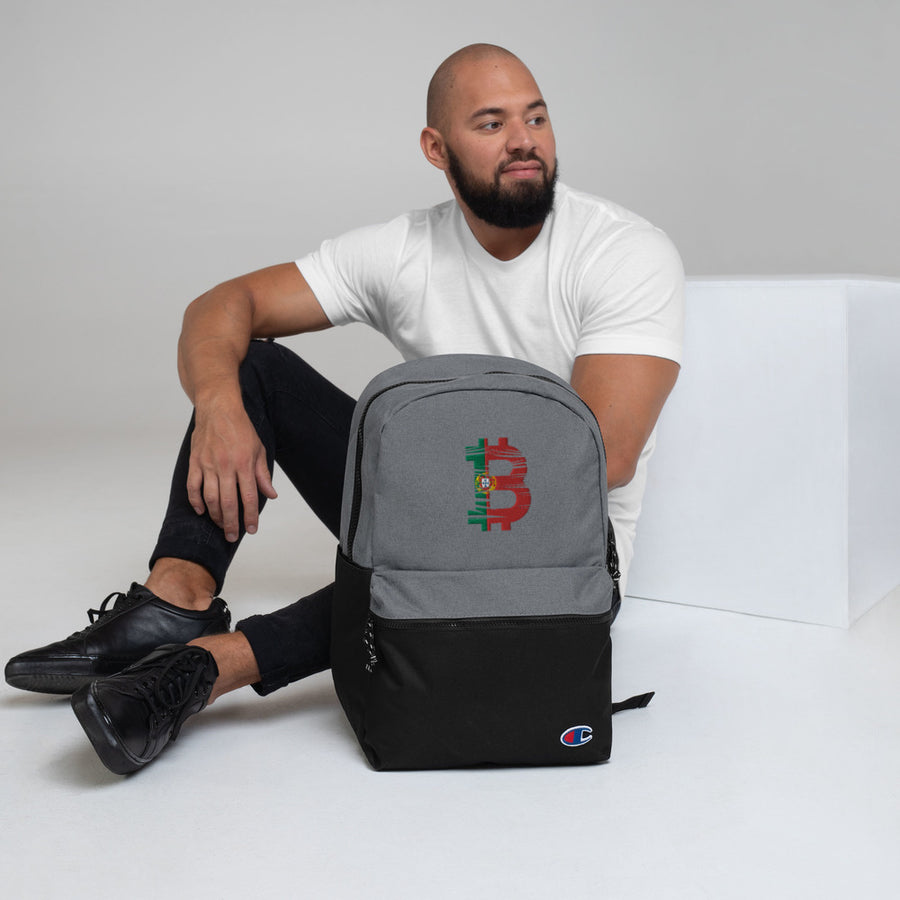 Bitcoin Portuguese Flag Embroidered Champion Backpack