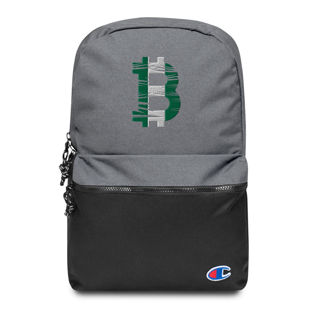 Bitcoin Nigerian Flag Embroidered Champion Backpack
