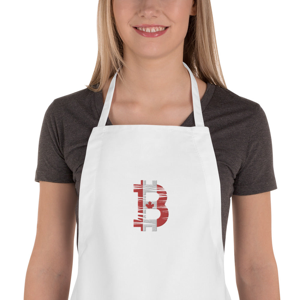 Bitcoin Canadian Flag Embroidered Apron