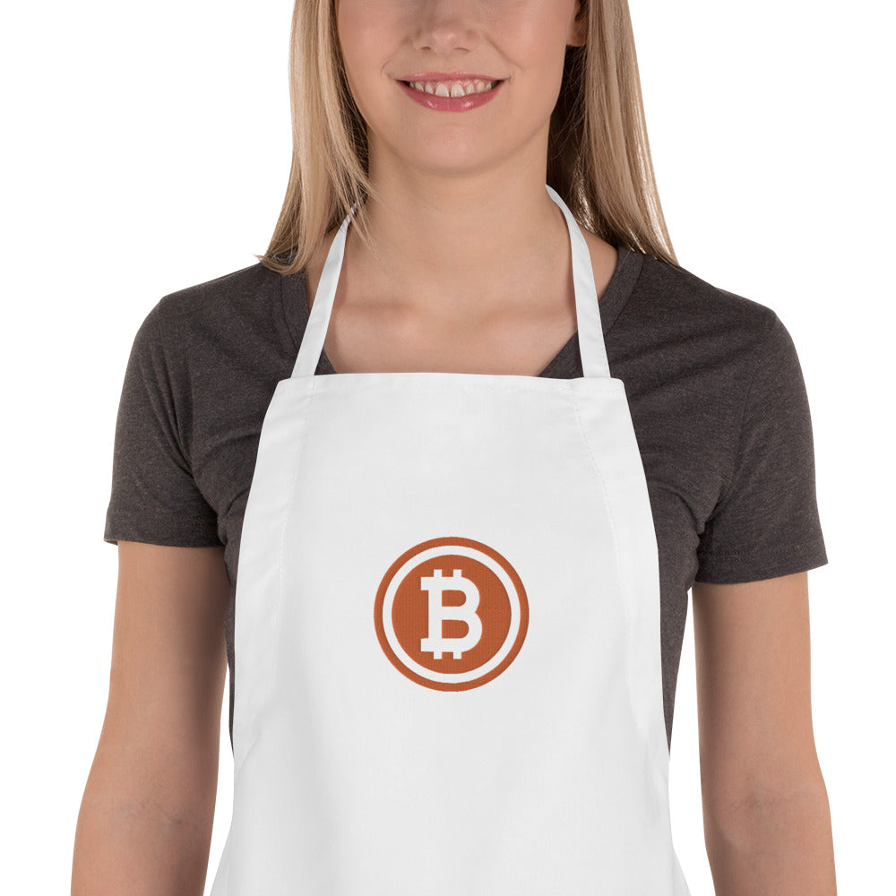 Embroidered Apron bitcoin logo