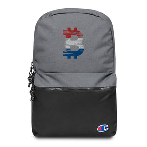 Bitcoin Dutch Flag Embroidered Champion Backpack