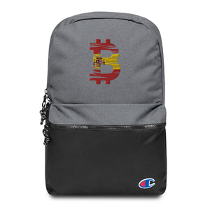 Bitcoin Spanish Flag Embroidered Champion Backpack