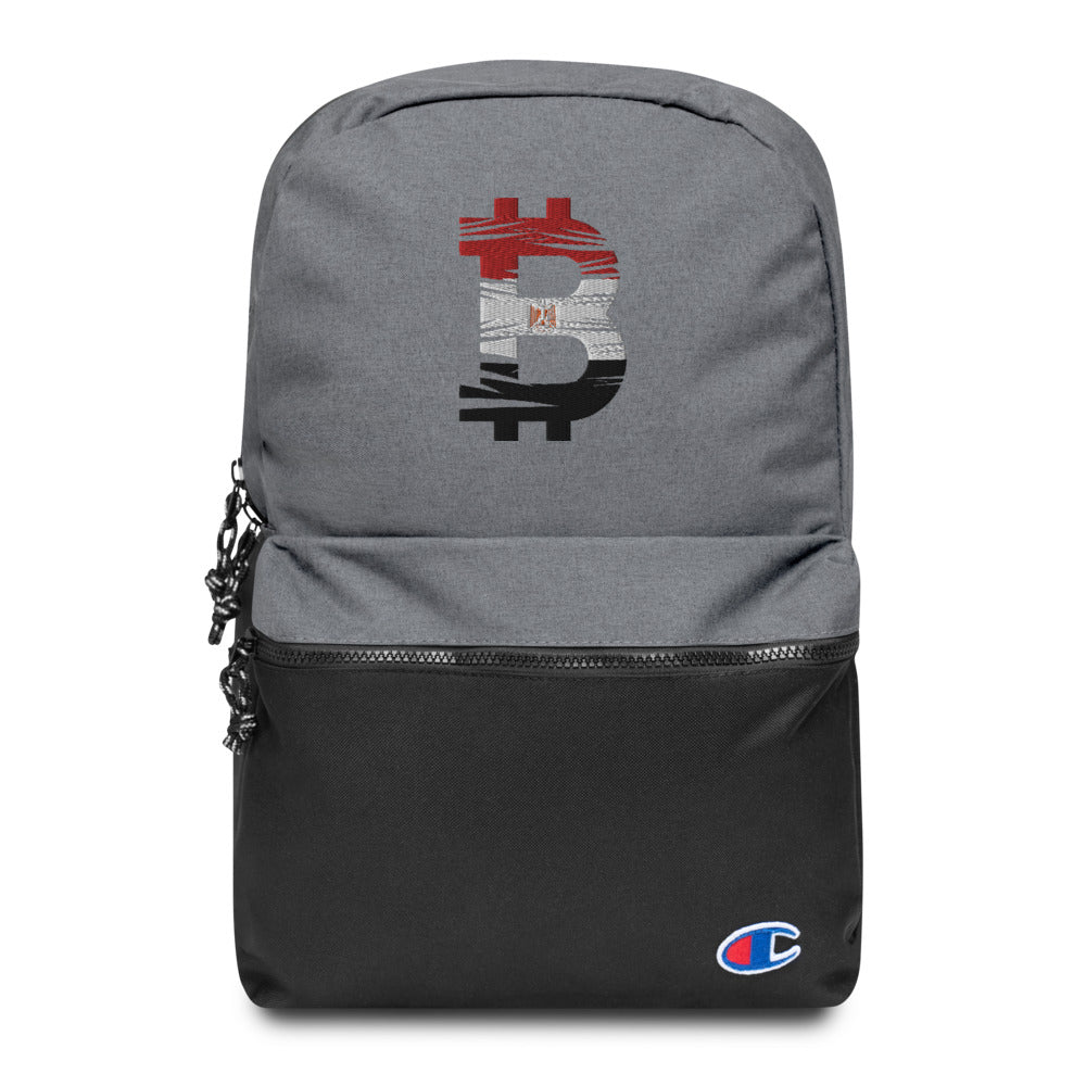 Bitcoin Egyptian Flag Embroidered Champion Backpack