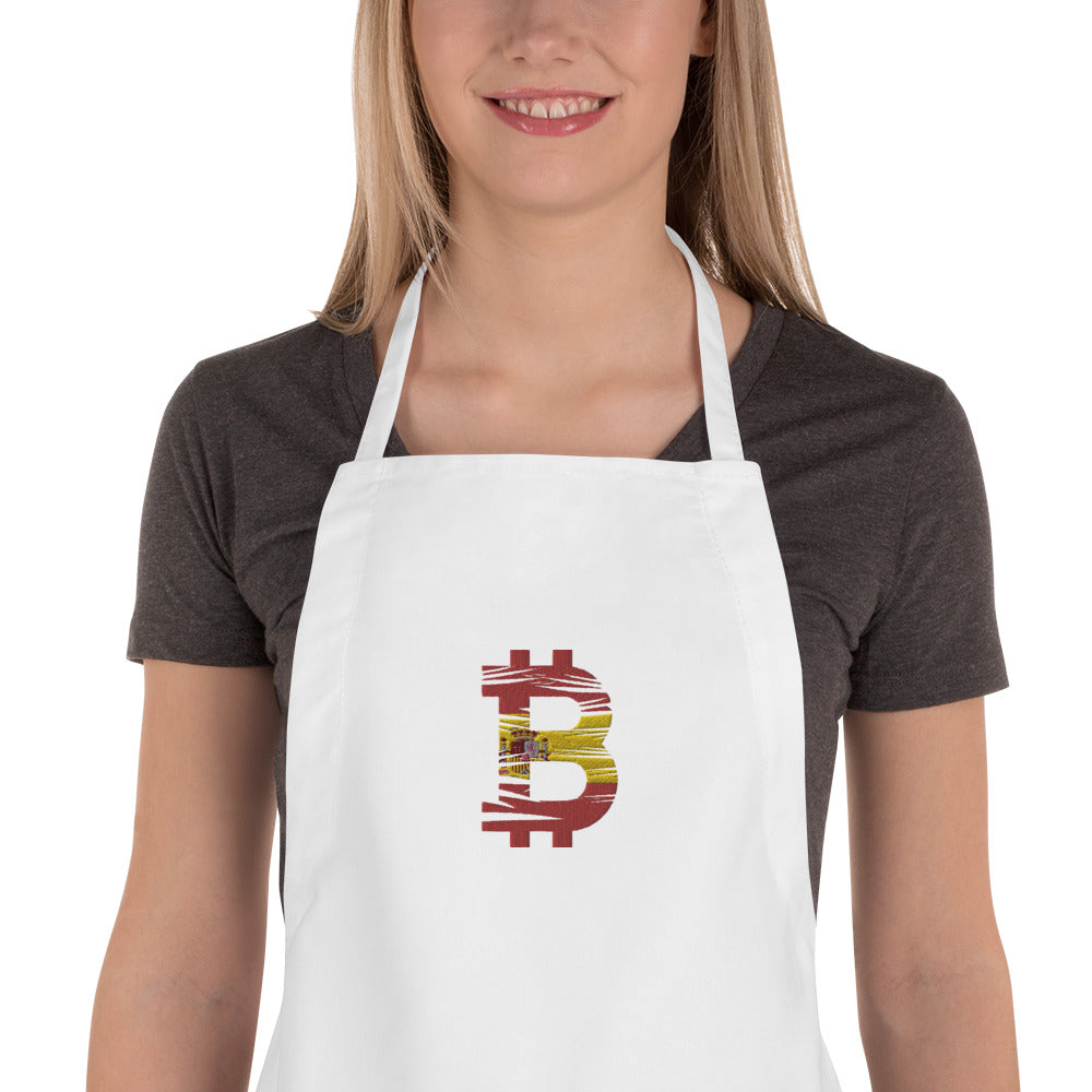 Bitcoin Spanish Flag Embroidered Apron