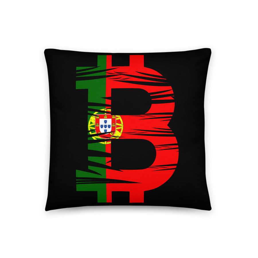 Bitcoin Portuguese Flag Basic Pillow