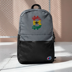 Bitcoin Ghanaian Flag Embroidered Champion Backpack