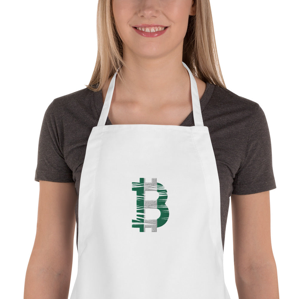 Bitcoin Nigerian Flag Embroidered Apron